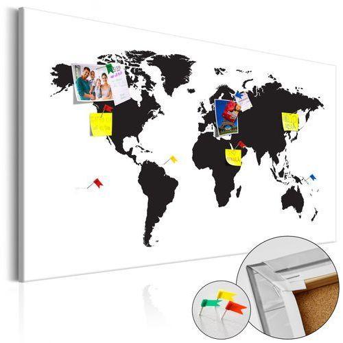 Obraz na korku - mapa świata: czarno-biała elegancja [mapa korkowa] marki Artgeist