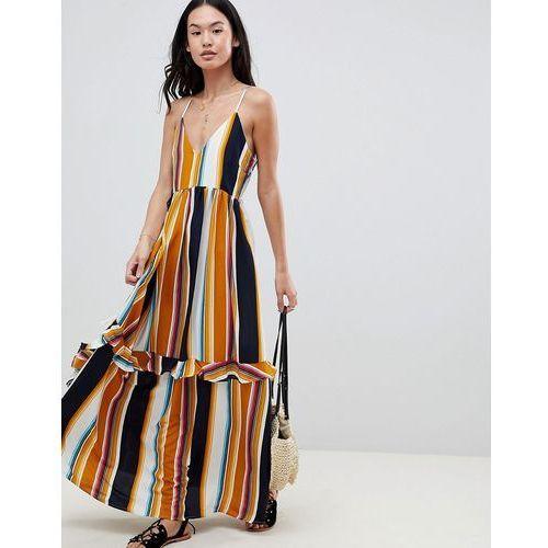 lace up back stripe ruffle maxi dress - multi, Boohoo