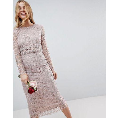 wedding lace long sleeve midi pencil dress - beige, Asos