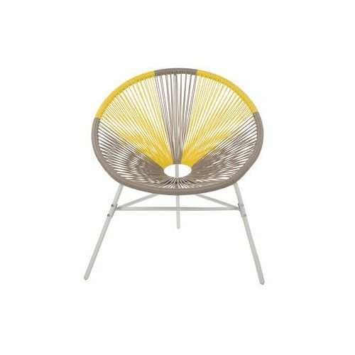 Beliani zestaw 2 krzeseł rattanowych beżowo-żółte acapulco (4260624113647)
