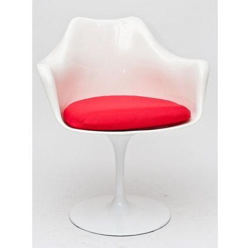 D2 Krzesło tular insp. tulip armchair biały/czerwona poduszka
