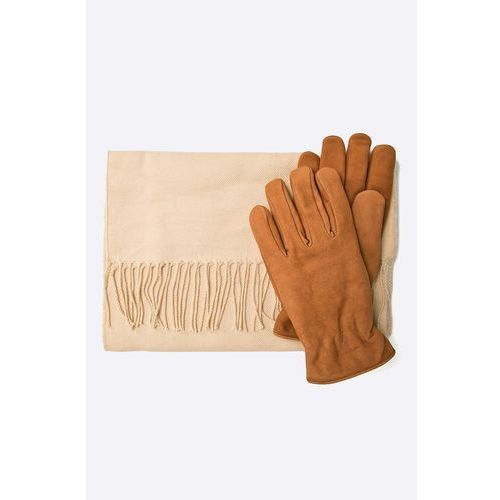 Trussardi jeans - rękawiczki skórzane + szalik