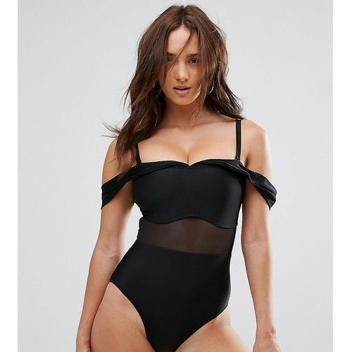 Wolf & Whistle Tailored Off The Shoulder Swimsuit With Mesh Inserts DD - G Cup - Black, 1 rozmiar