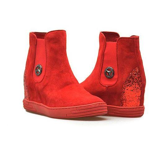 Karino Sneakersy 1853/108 czerwone zamsz