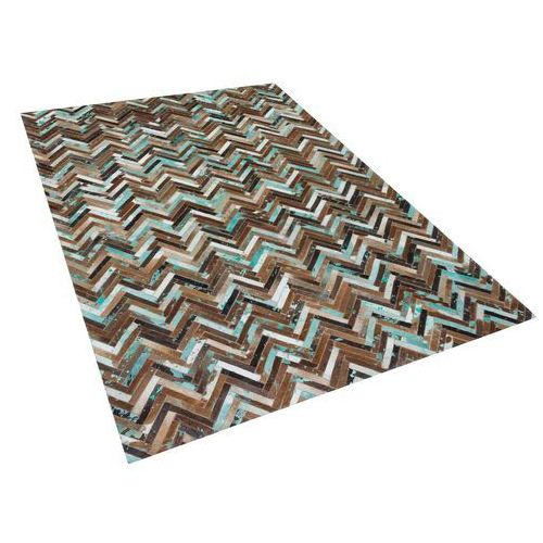 Dywan - brązowo - beżowo - niebieski - skóra - 160x230 cm - amasya marki Beliani