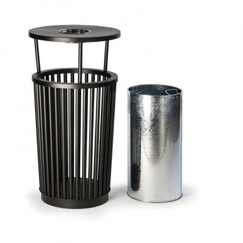 B2b partner Zewnętrzny kosz na śmieci z popielniczką, 24 l, metalowy