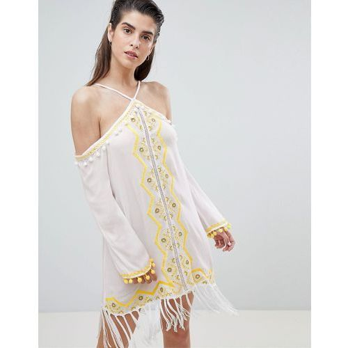 River island embellished tassel halter neck beach dress - white