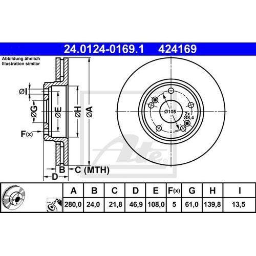 TARCZA HAM ATE 24.0124-0169.1 RENAULT LAGUNA II GRANDTOUR 1.9DCI 05-, ATE 24.0124-0169.1