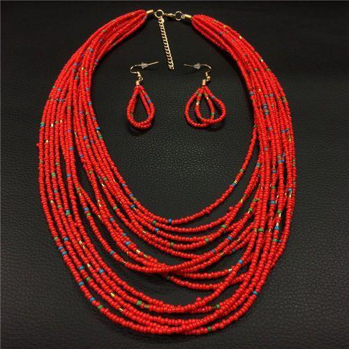 Naszyjnik kolczyki cieniutki czerwony - czerwony wyprodukowany przez Cloe