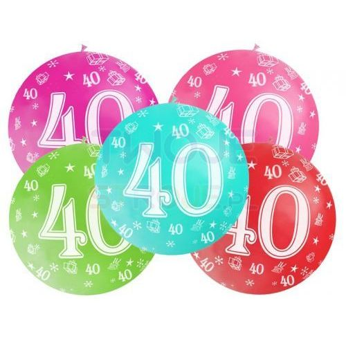 BALON LATEKSOWY 40th BIRTHDAY 100cm 1szt, #A526^n