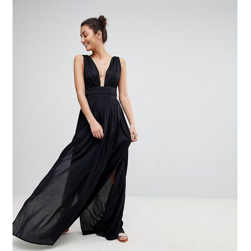 Asos design tall grecian plunge maxi woven beach dress - black, Asos tall
