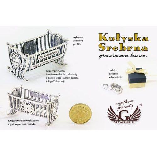 OKAZJA - - Kołyska srebrna pamiątka chrztu świętego - srebro - wzór srb011