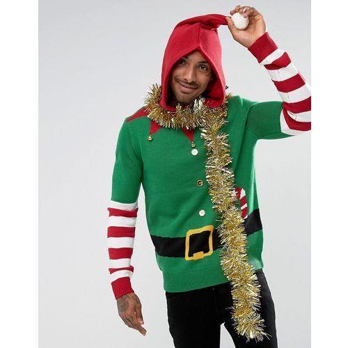 hooded elf jumper with bells - green, Threadbare