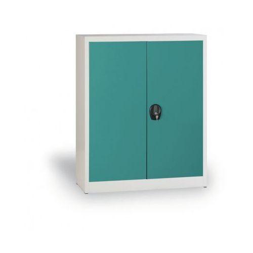 Szafa metalowa, 1150x1200x400 mm, 2 półki, szary/zielony