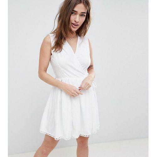ASOS DESIGN Petite mini wrap sundress with embroidered trims - White