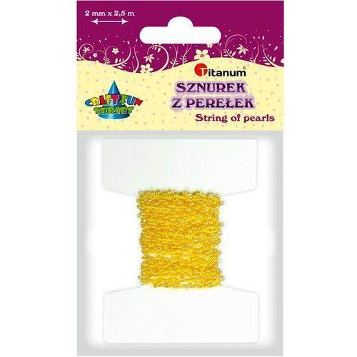 Perełki na sznurku 2mm 2,5m żółte craft-fun - żółty marki Titanum