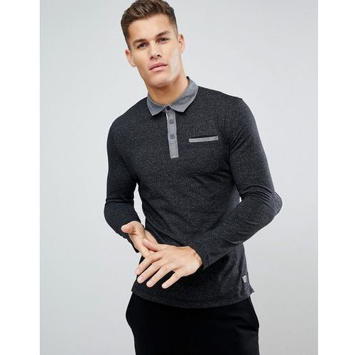 Tom Tailor Long Sleeve PoloWith Contrast Collar - Black, 1 rozmiar