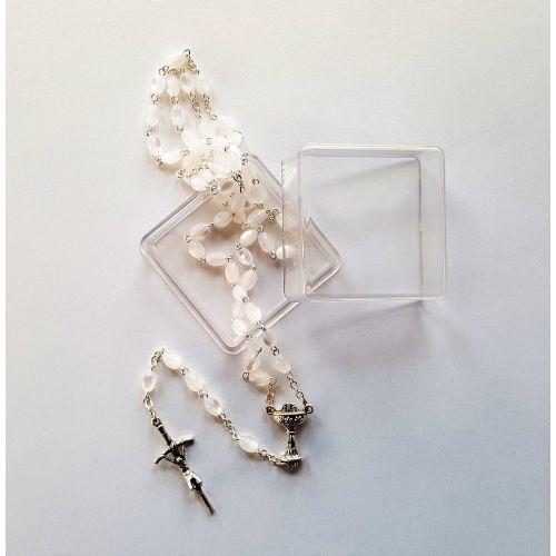 Różaniec szklany Madre Perla, biały owal. Na Pierwszą Komunię Świętą., UR114TOP