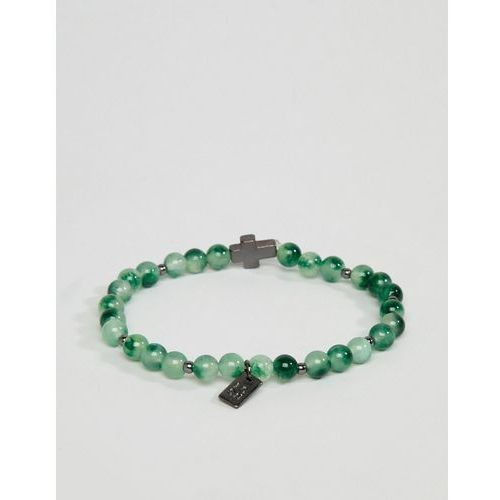 Icon brand green beaded bracelet with cross charm - green