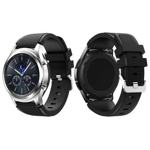 4kom.pl Gumowy pasek sportowy do samsung gear s3 / watch 46mm karbon czarny - czarny
