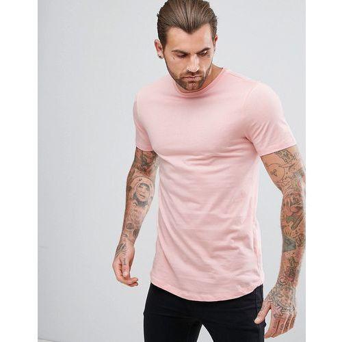 River Island Longline T-Shirt with Curved Hem In Light Pink - Pink, kolor różowy