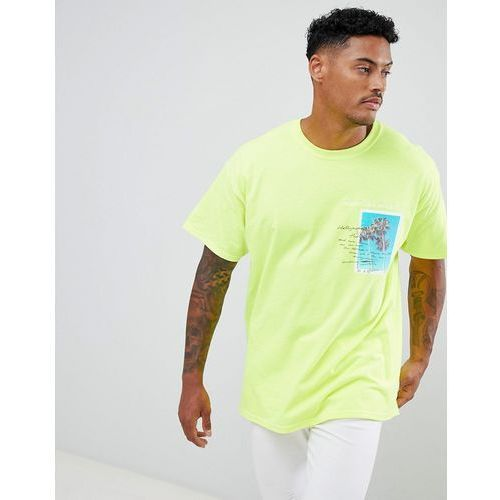 oversized t-shirt in fluorescent yellow print - yellow marki Boohooman