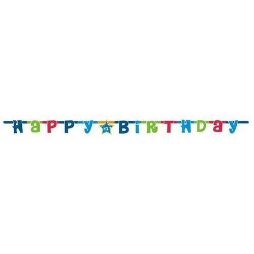 Go Baner urodzinowy happy birthday niebieski - 180 cm - 1 szt.