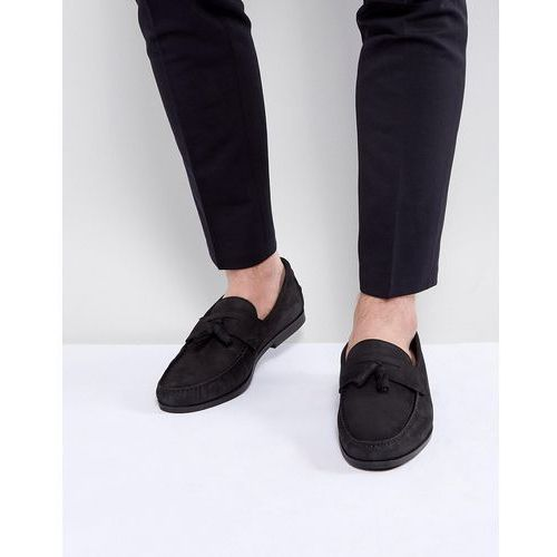 River Island Leather Loafers With Tassles In Black - Black