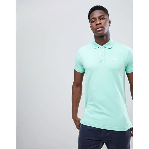 Hollister Solid Core Seagull Logo Polo Contrast Placket in Mint - Green, kolor zielony