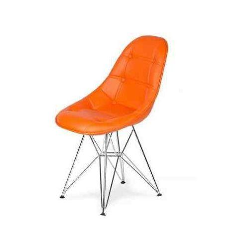 Krzesło EKO SILVER soczysta pomarańcz - ekoskóra, podstawa metalowa chromowana, K-220PU.T17.DSR (7811959)