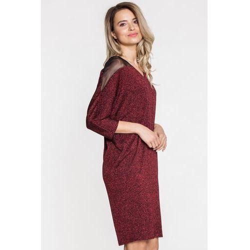 Sukienka o fasonie nietoperza z metaliczną nitką - Margo Collection, kolor czerwony
