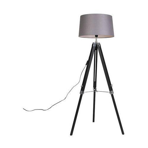 Qazqa Lampa podłogowa czarna klosz lniany szary 45 cm - tripod