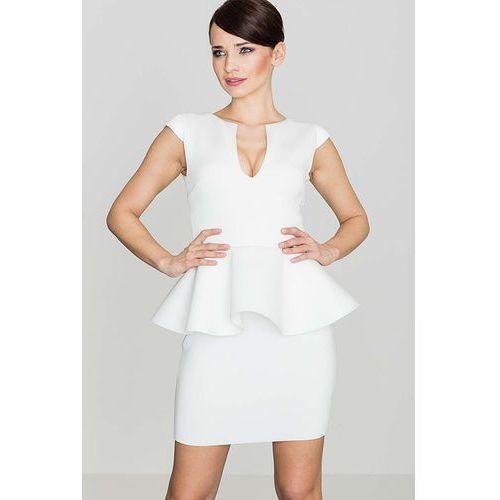 Ecru Elegancka Sukienka z Baskinką z Rozcięciem przy Dekolcie, w 4 rozmiarach
