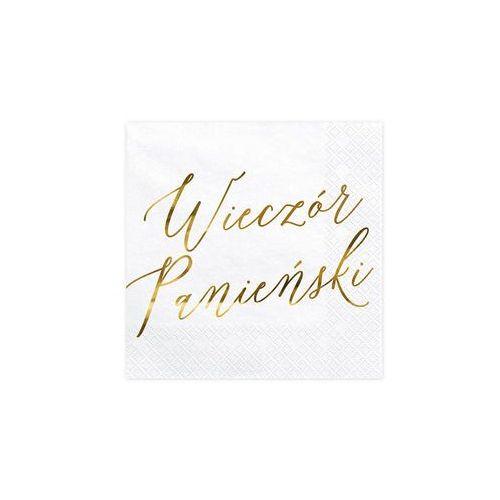 Serwetki białe ze złotym napisem wieczór panieński - 33 cm - 20 szt. marki Party deco