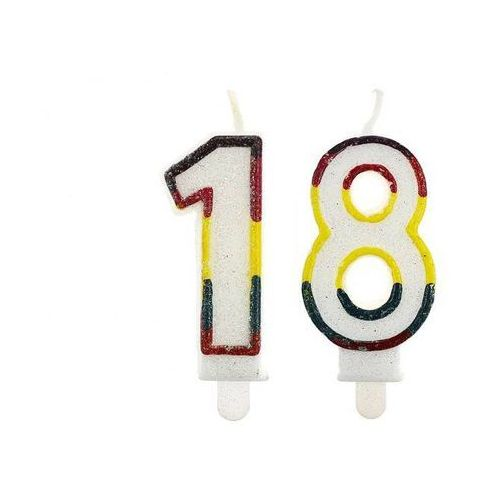 Świeczki cyferki z brokatem - 18 - osiemnastka - 2 szt.