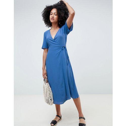 New look midi wrap dress - blue