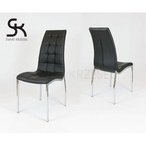 Sk design  ks002 czarne pikowane krzesło z ekoskóry chrom stelaż - czarny