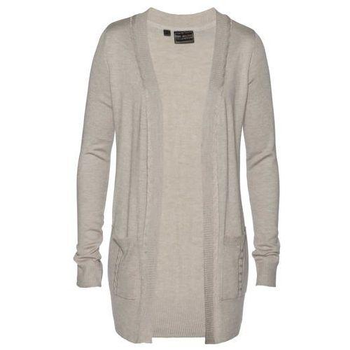 Krótki sweter bez zapięcia bonprix czarno-biel wełny melanż, kardigan