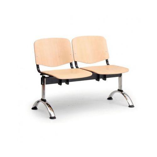 Euroseat Drewniana ławka do poczekalni iso, 2-siedziska, chromowane nogi