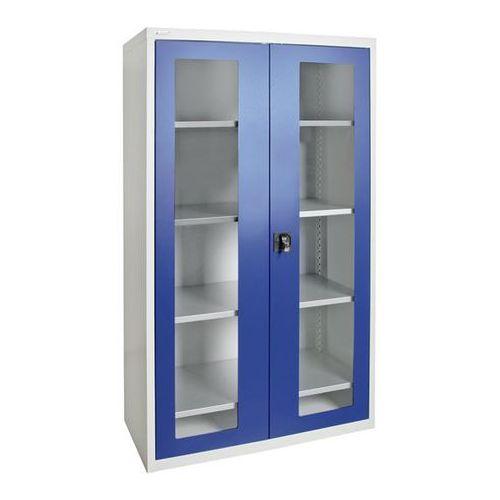 Szafka z drzwiami skrzydłowymi, z drzwiami z okienkiem, 4 półki, jasnoszary / ni