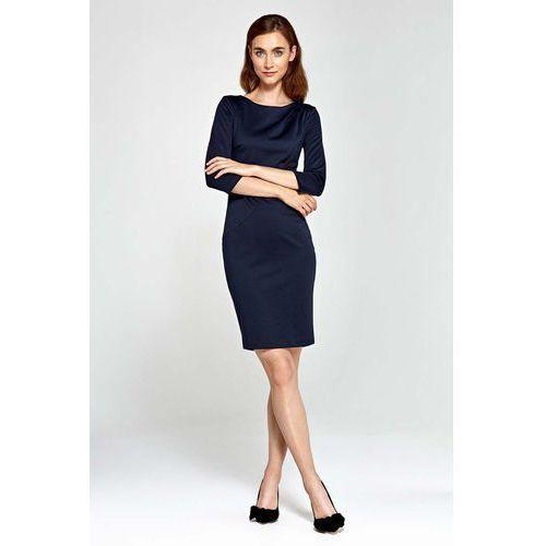 Granatowa Sukienka Ołówkowa z Asymetrycznym Drapowaniem, w 5 rozmiarach