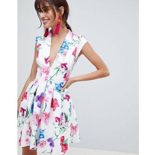 5e7a73e40a botanical paneled deep plunge mini prom dress - multi