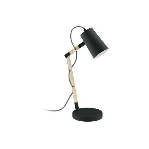 Stojąca LAMPA biurkowa TORONA 94034 Eglo drewniana OPRAWA stołowa IP20 czarna