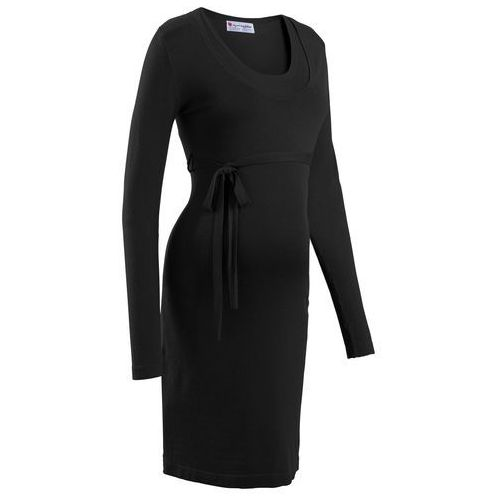 Sukienka dzianinowa ciążowa i do karmienia piersią, z wiązanym paskiem bonprix czarny, kolor czarny