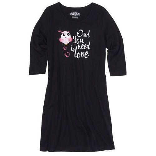 Koszula nocna, rękawy 3/4 czarny z nadrukiem marki Bonprix
