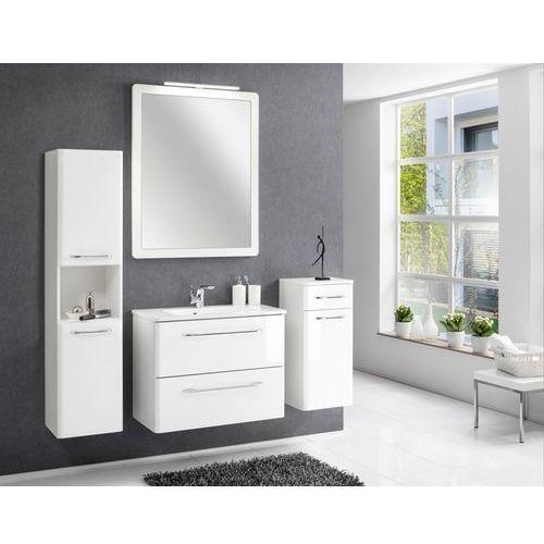 Szafka łazienkowa boczna Beta o wysokości 150 cm z szufladą oraz drzwiami.