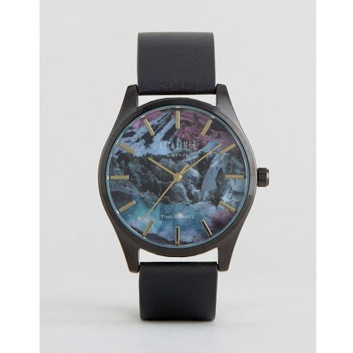 Reclaimed Vintage Mountain Print Leather Watch In Black - Black z kategorii Pozostałe