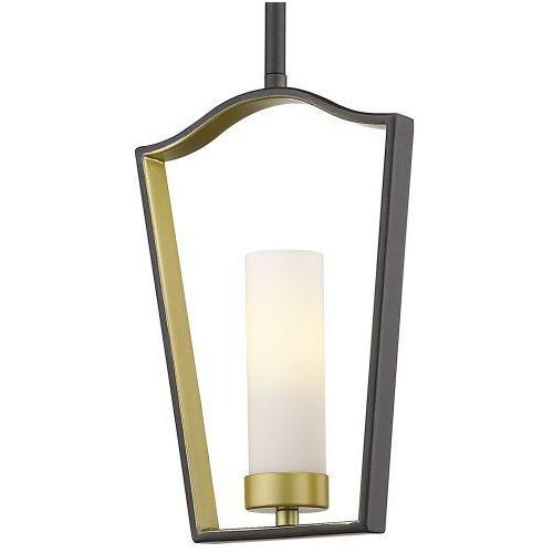 Lampa wisząca p01209bz metalowa oprawa szklana tuba zwis ramka frame brązowa złota biała marki Evo