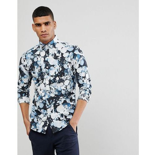 Selected Homme Slim Fit Smart Shirt With All Over Print - Black, kolor czarny