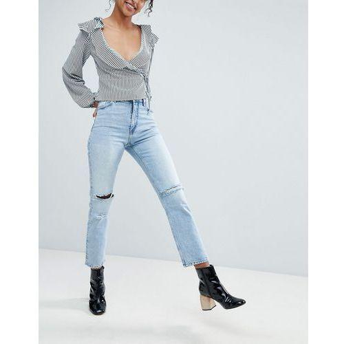 Monki Ripped Knee Moluna Jeans - Blue, jeansy